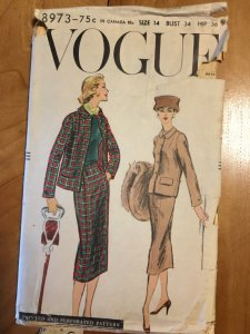 Rare Vogue 8973 1950s Chanel Style Suit