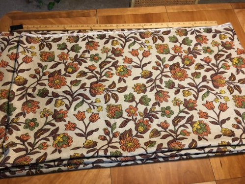 Vintage Bohemian Hippy 1970s Fabric 4.25 yards Linen Brown Yellow Orange Green