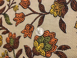 Vintage Bohemian Hippy 1970s Fabric 4.25 yards Linen Brown Yellow Orange Green
