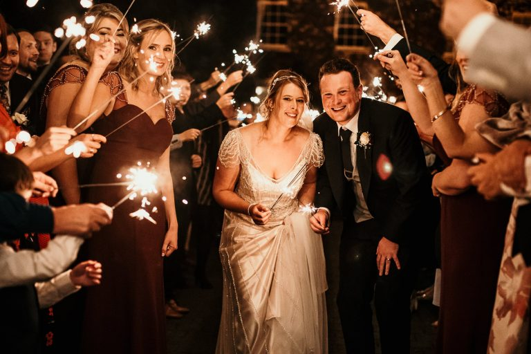 Tully Lagan House Hotel sparkler exit wedding photography