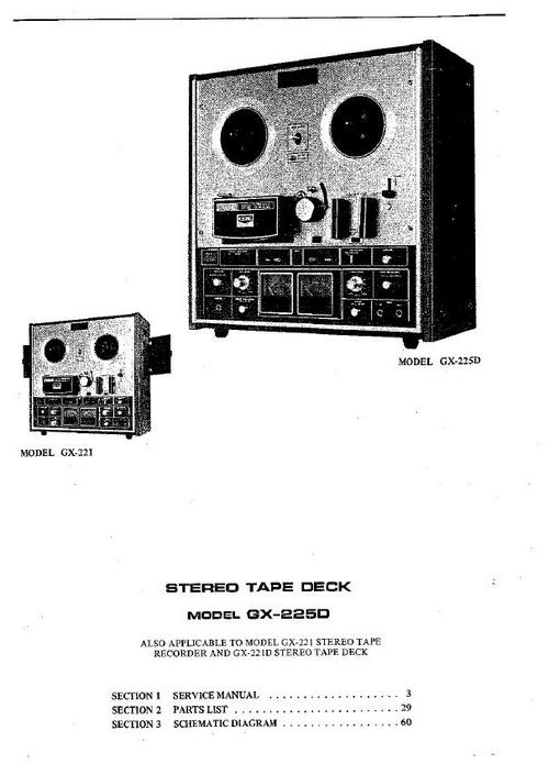 Akai GX-225-D reel to reel tape recorder Service Manual