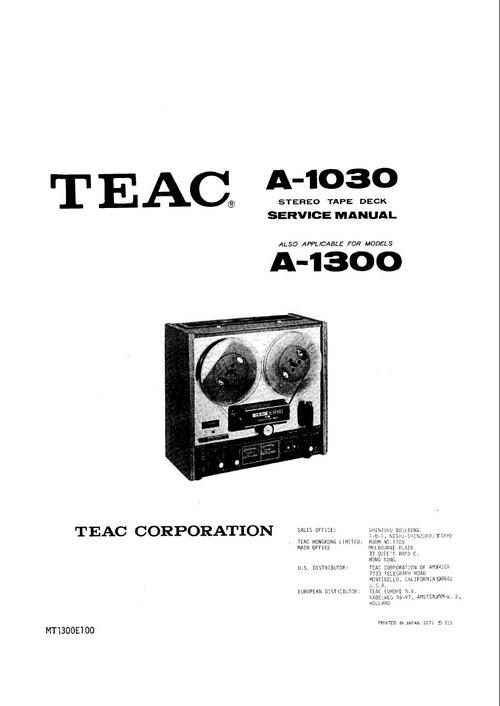 Free Teac X-2000R reel tape recorder Service Manual