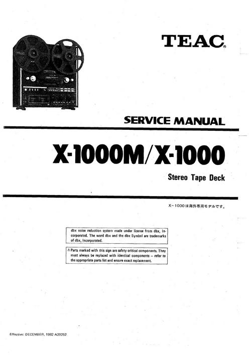 Teac X-1000 & X-1000M reel tape recorder Service Manual