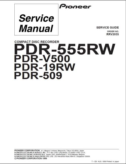 Pioneer PDR-V-500 , CD Recorder Original Service Manual