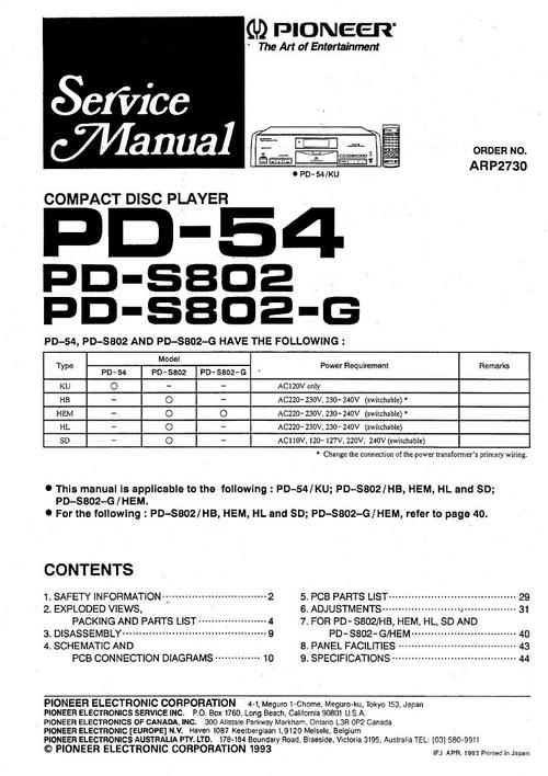 Free Pioneer PD-9300 & PD-71 Original Service Manual