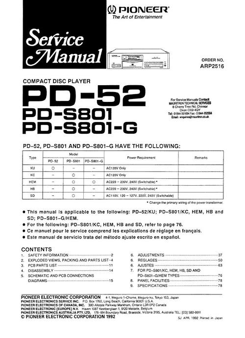 Pioneer PD-S-801 & PD-52 Original Service Manual