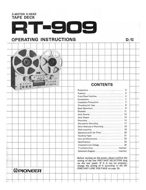 Free Pioneer RT-707 Reel-to-Reel owner user manual