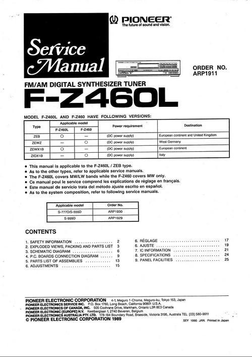 Pioneer FZ-460-L Tuner , Original Service Manual