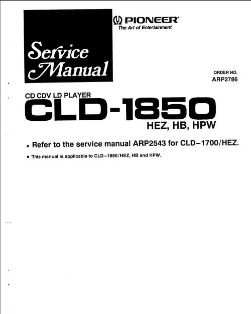 Free Pioneer CLD-3070 Laser Disc , Service Manual Download