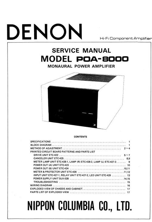 Denon POA-8000 , Power Amplifier , original Service Manual