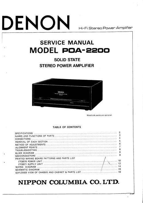 Denon POA-2200 , Power Amplifier , original Service Manual