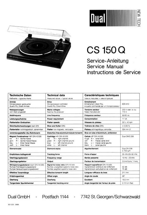 Free Dual 1019 Turntable Service Manual Download