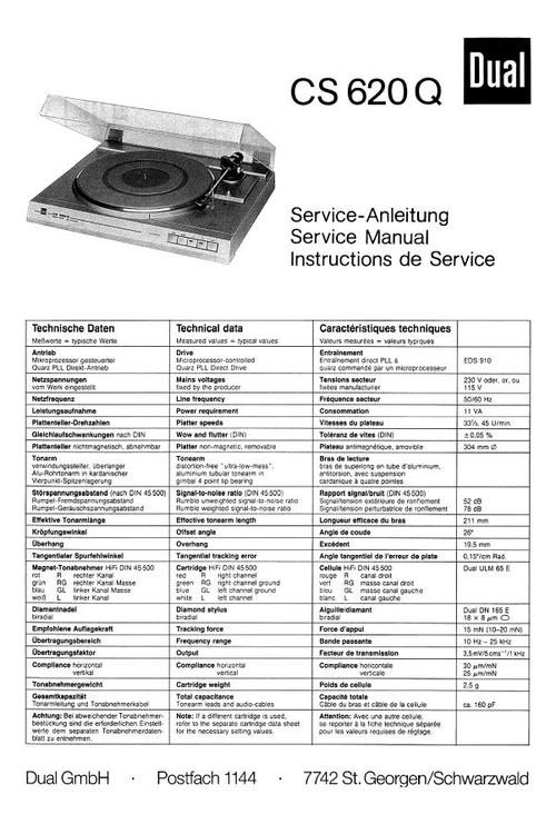 Free Dual CS-607 Turntable Service Manual Download