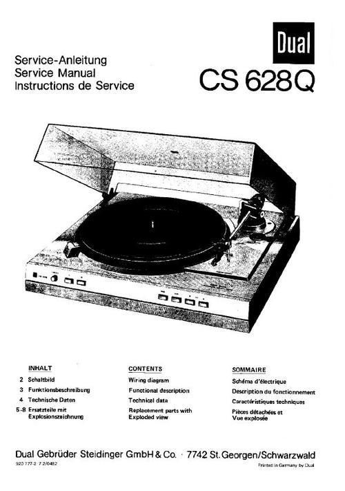 Free Dual CS-630-Q Turntable Service Manual Download