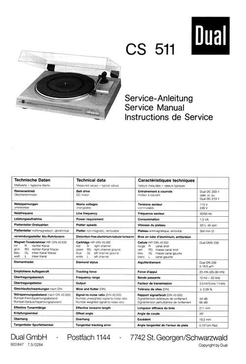 Free Dual 1229 Turntable Service Manual Download