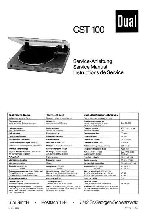 Free Dual CS-610-Q Turntable Service Manual Download