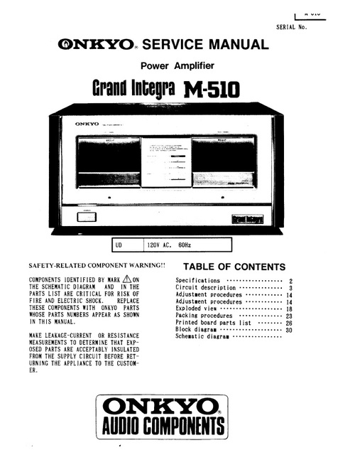 Onkyo Integra M-510 Power Amplifier Service Manual