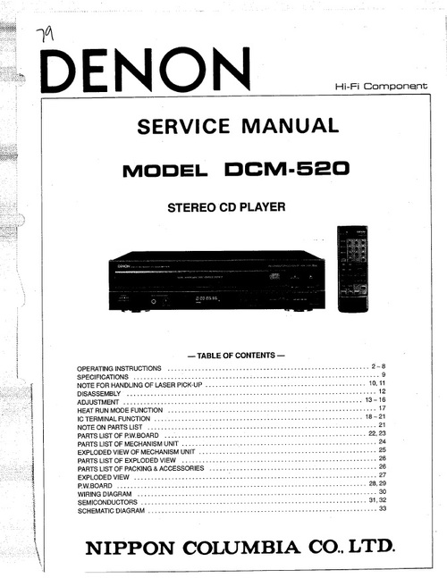 Free Denon DVD2500BT Service Manual / Repair Manual