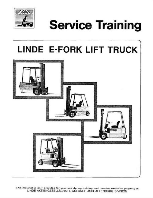 Service Manuals for Linde E10, E12, E14, E15, E16, E20