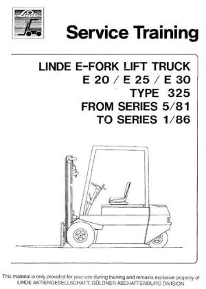 Linde Electric Forklift Truck 325 Series: E20, E25, E30 Service Tr