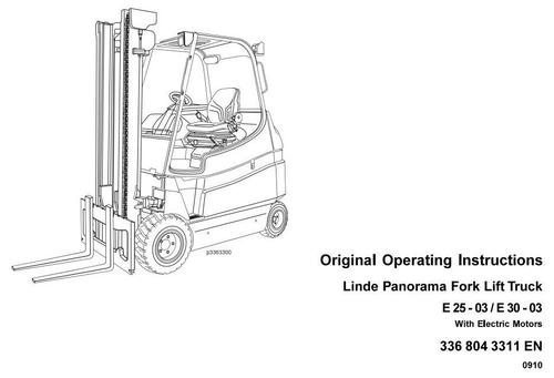 Linde Panorama Forklift Truck 36-03 Series E25, E30
