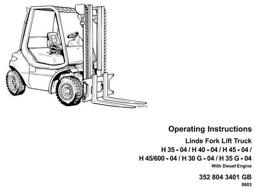 Free Linde Diesel Forklift Truck 352 and 352-02 Series