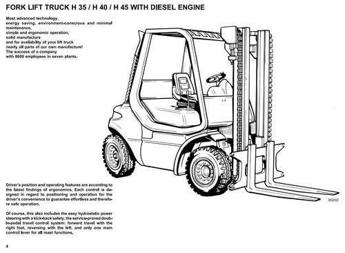Linde Diesel Forklift Truck 352 and 352-02 Series: H35