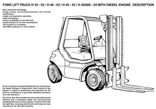 Linde Diesel Forklift Truck 352-03 Series: H35, H40, H45