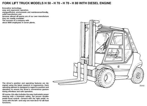 Linde Forklift Truck 353, 353-02, 353-03 Series: H50, H60
