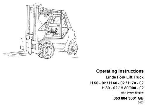 Linde Diesel Forklift Truck 353-02 Series: H50, H60, H70