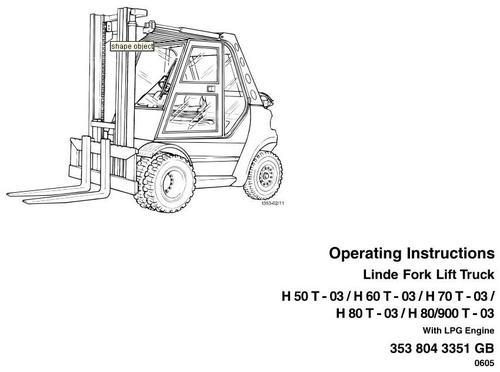 Linde LPG Forklift Truck 353-03 Series: H50, H60, H70, H80