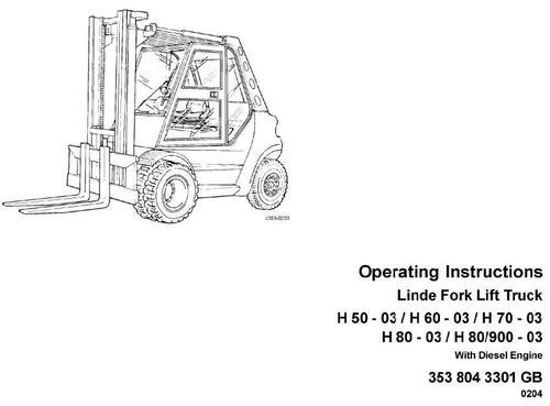Linde Diesel Forklift Truck 353-03 Series: H50, H60, H70