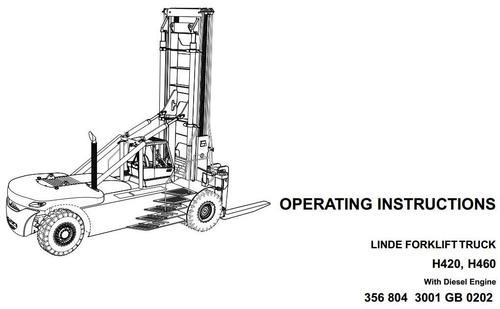 Linde Forklift Truck Type 356: H420, H460 Operating