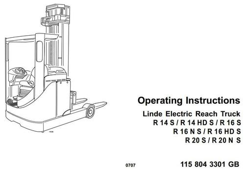 Linde Electric Reach Truck Type 115-02: R14HDS, R14S