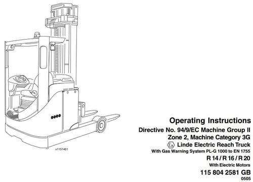 Linde Electric Reach Truck Type 115 Explosion Protected