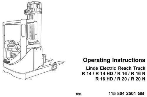Linde Electric Reach Truck Type 115: R14, R14HD, R16
