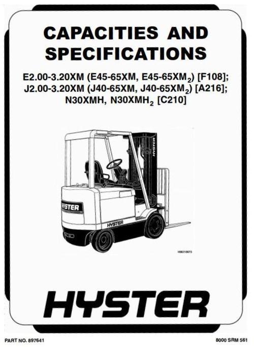 Hyster Forklift Truck Type A216: J2.00XM (J40XM), J2.50XM