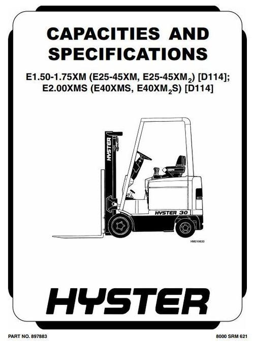 Hyster Electric Forklift Truck Type D114: E25XM, E30XM
