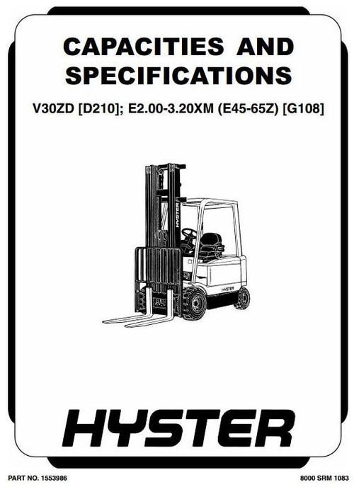 Hyster Electric Forklift Truck Type G108: E2.00XM, E2.50XM