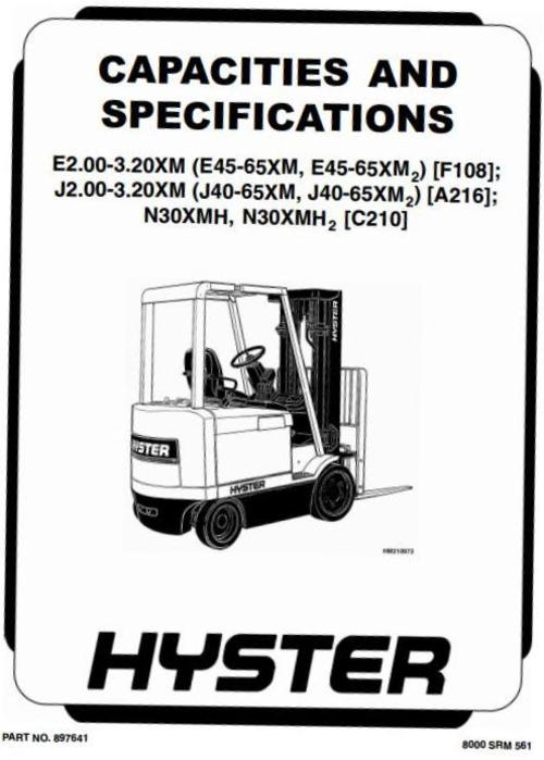 Hyster Electric Forklift Truck Type C210: N30XMH2 SN from