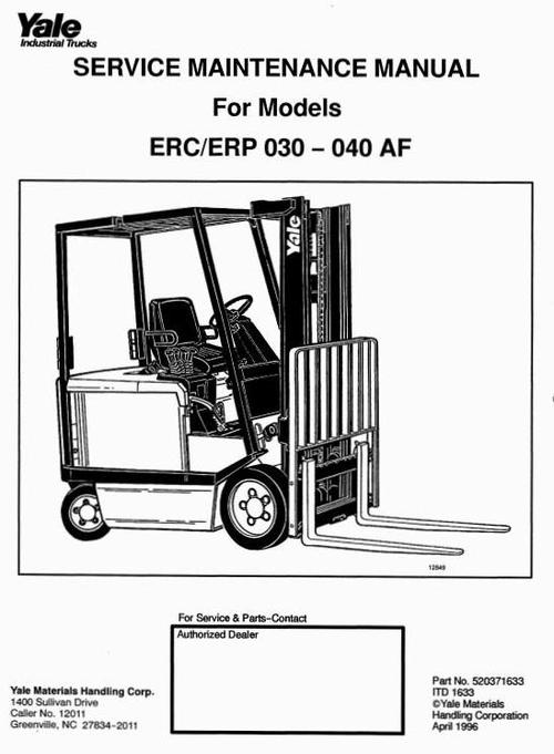 Free Yale Forklift Truck Type E108: ERC040 RF/ZF, ERC050