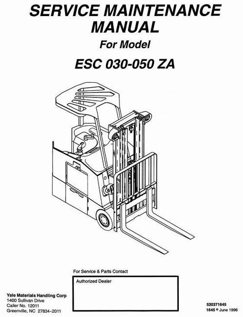 Yale Electric Forklift Truck: ESC030ZA, ESC035ZA, ESC040ZA