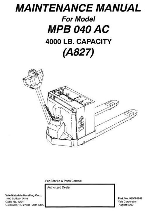 Free YALE A249 MP20 PALLET TRUCK Service Repair Manual