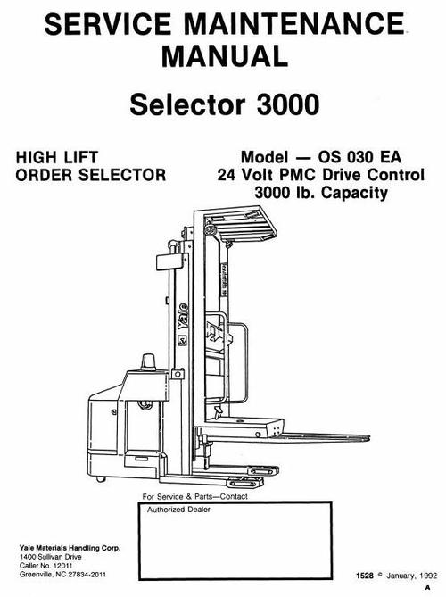 Free Yale High Lift Order Selector 3000: OS030BB, SS030BB