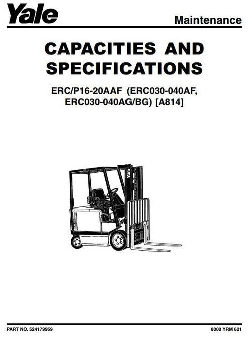 Yale Electric Forklift Truck Type A814: ERC030, ERC040 (AF