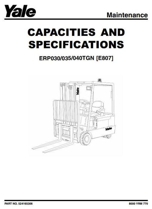Yale Electric Forklift Truck Type E807: ERP030TGN