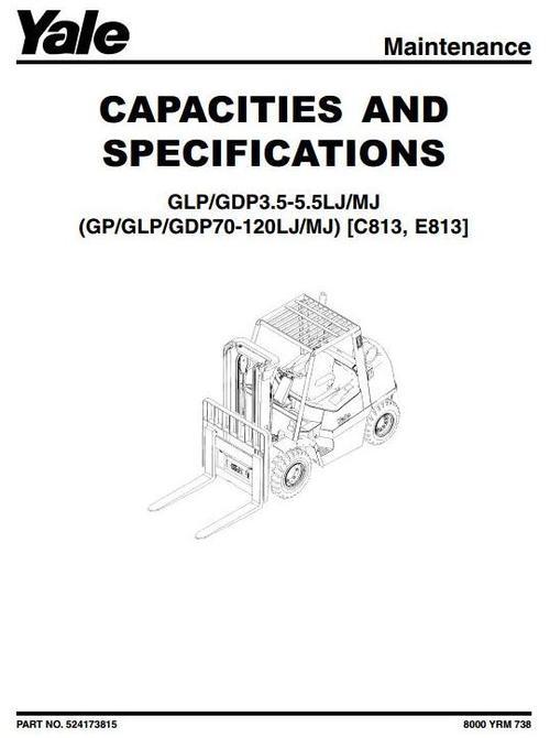 Yale Diesel/LPG Forklift Truck E813 Series: GP/GLP/GDP 70