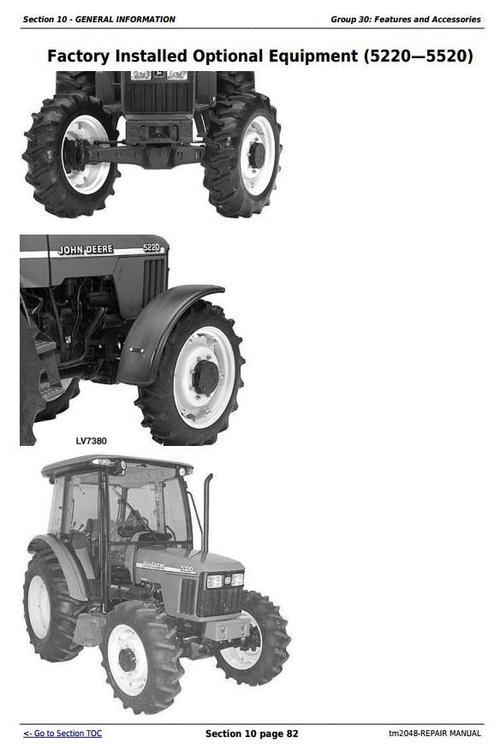 Deere Tractors 5220, 5320, 5420, and 5520 Service Repair