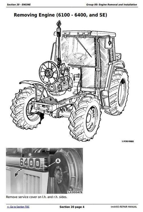 Deer Tractors 6100, 6200, 6300, 6400, 6506, 6600, SE6100