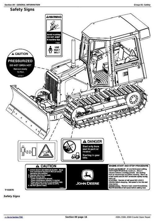 Deer 450H, 550H, 650H Crawler Dozer Service Repair